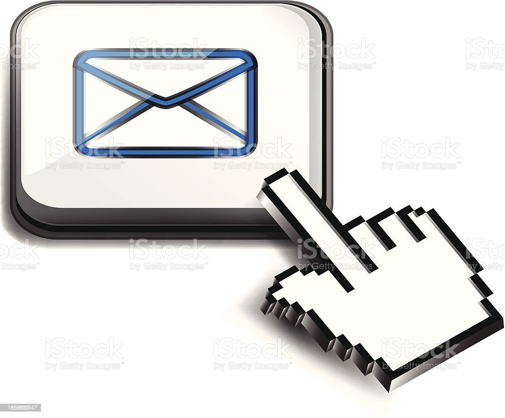 Computer Key   Email with Hand Cursor vector art illustration