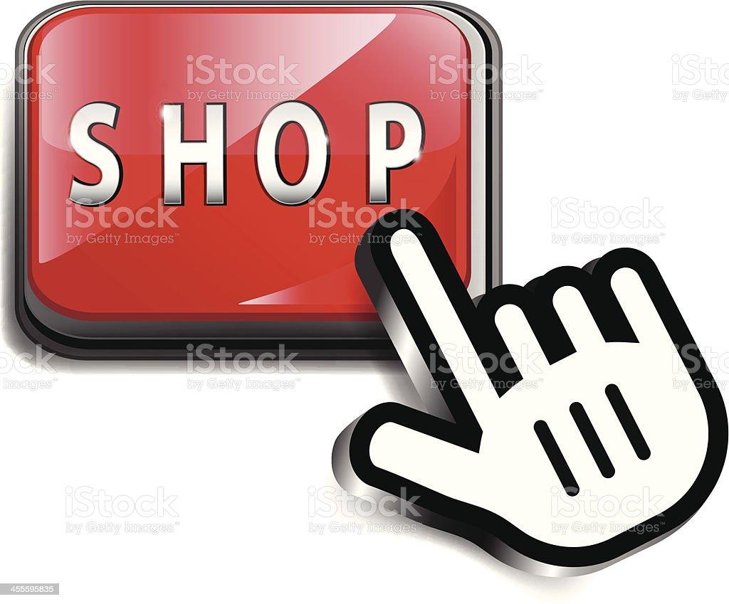Computer Key | Shop with Hand Cursor vector art illustration