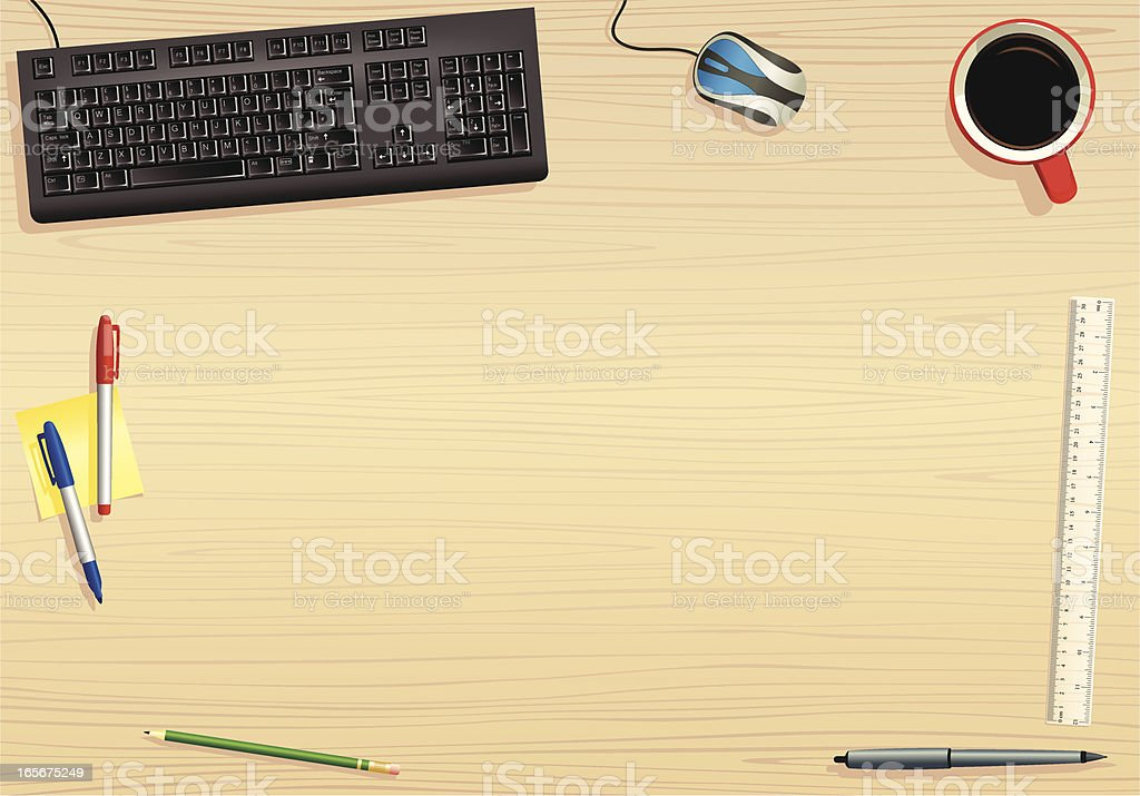 Computer keyboard and office desk surface vector art illustration