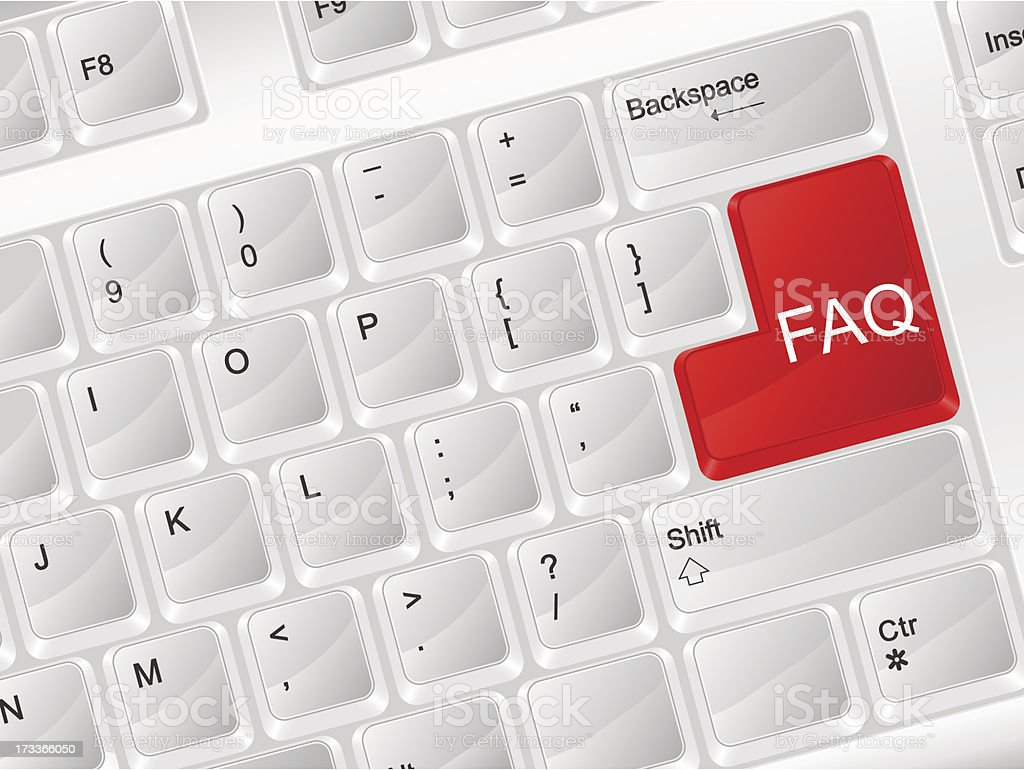 computer keyboard FAQ royalty-free stock vector art