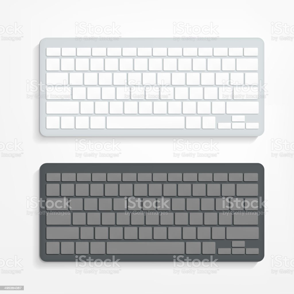 computer keyboard on white background vector art illustration