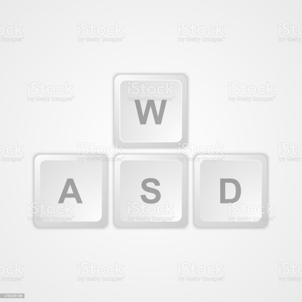 Computer keyboard WASD gaming buttons. vector art illustration