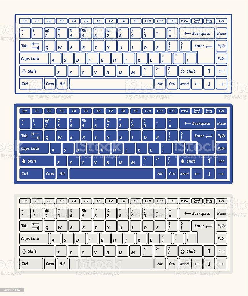 Computer keyboards vector art illustration