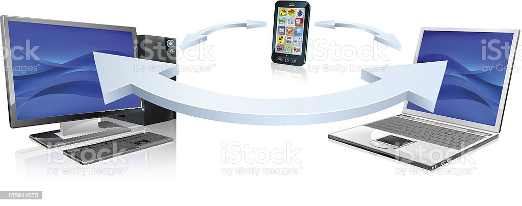 Computer laptop and cell phone connecting royalty-free stock vector art