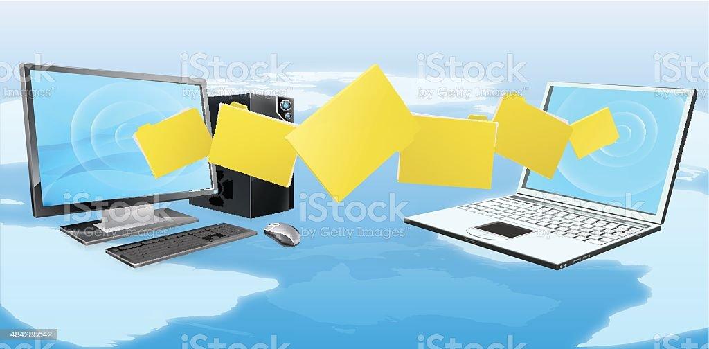 Computer laptop file transfer vector art illustration