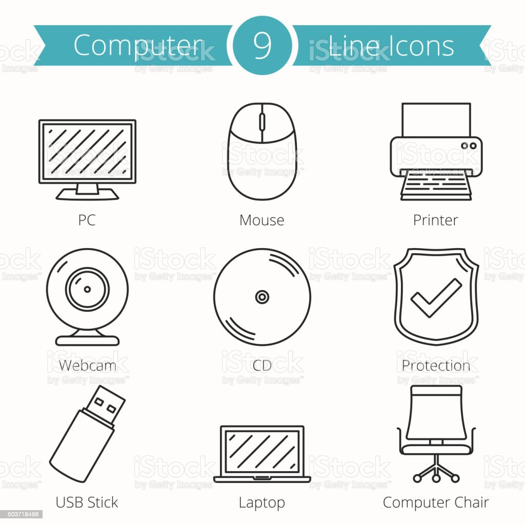 Computer Line Icons vector art illustration