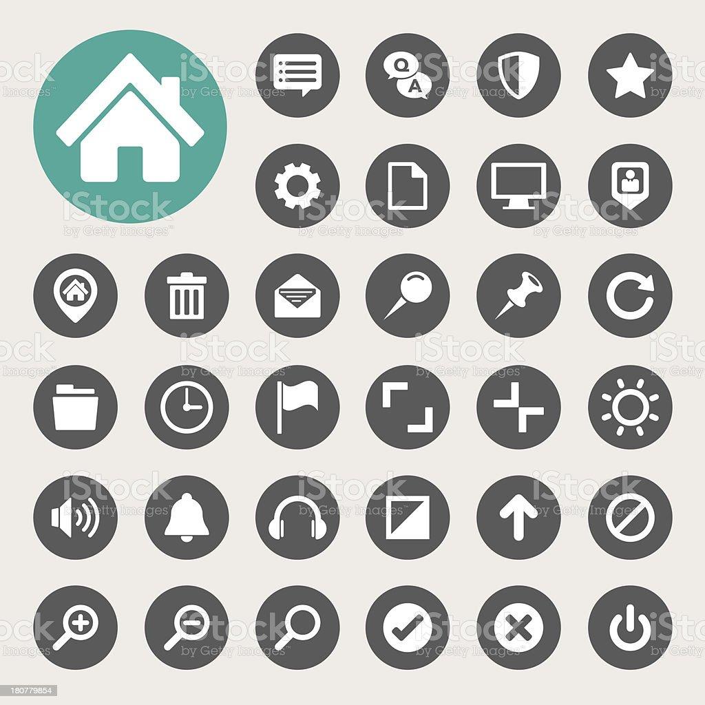 Computer menu icons set. vector art illustration