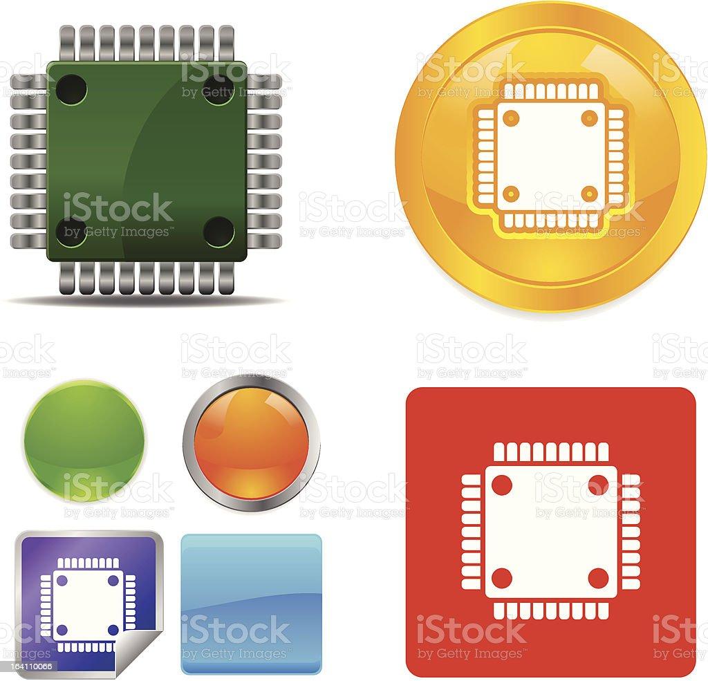 Computer Microchip vector icons royalty-free stock vector art