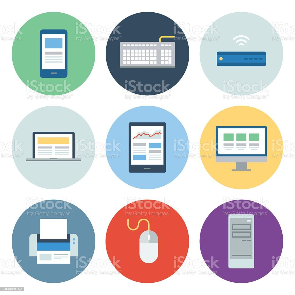 Computer & Mobile Device Icons — Circle Series vector art illustration