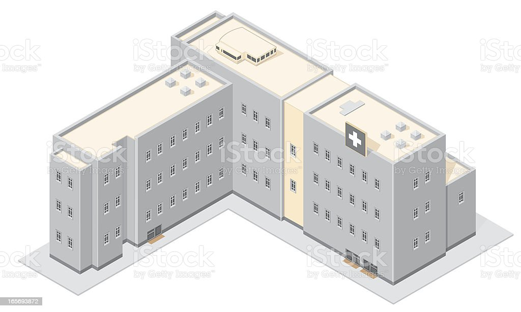3D computer model of modern hospital royalty-free stock vector art