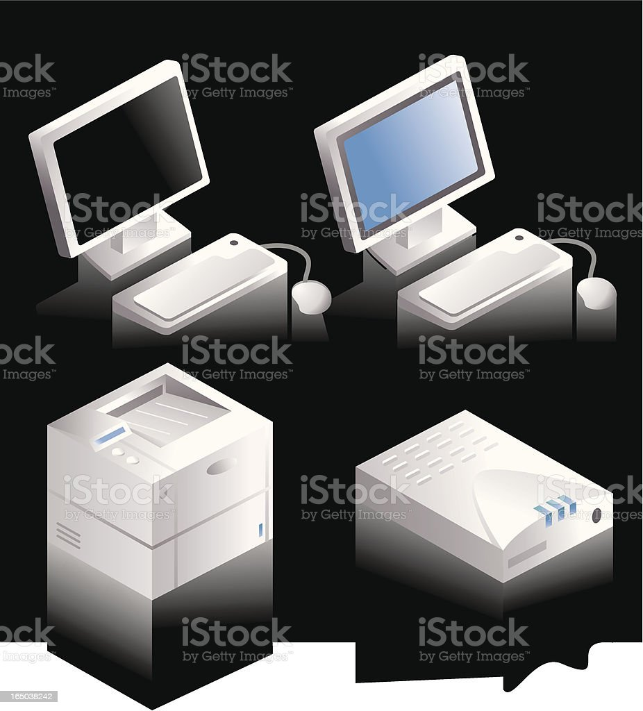 Computer, Modem and Printer royalty-free stock vector art