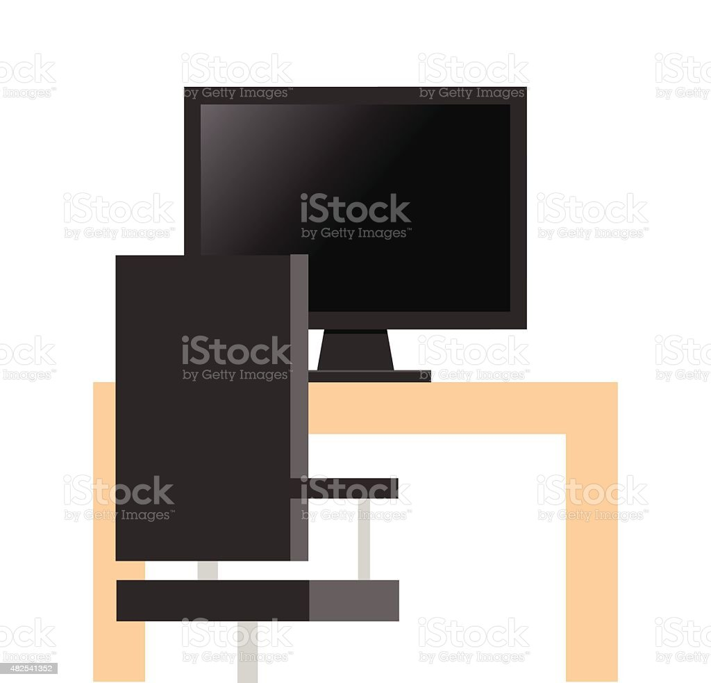 Computer monitor cpu on desk with table vector art illustration