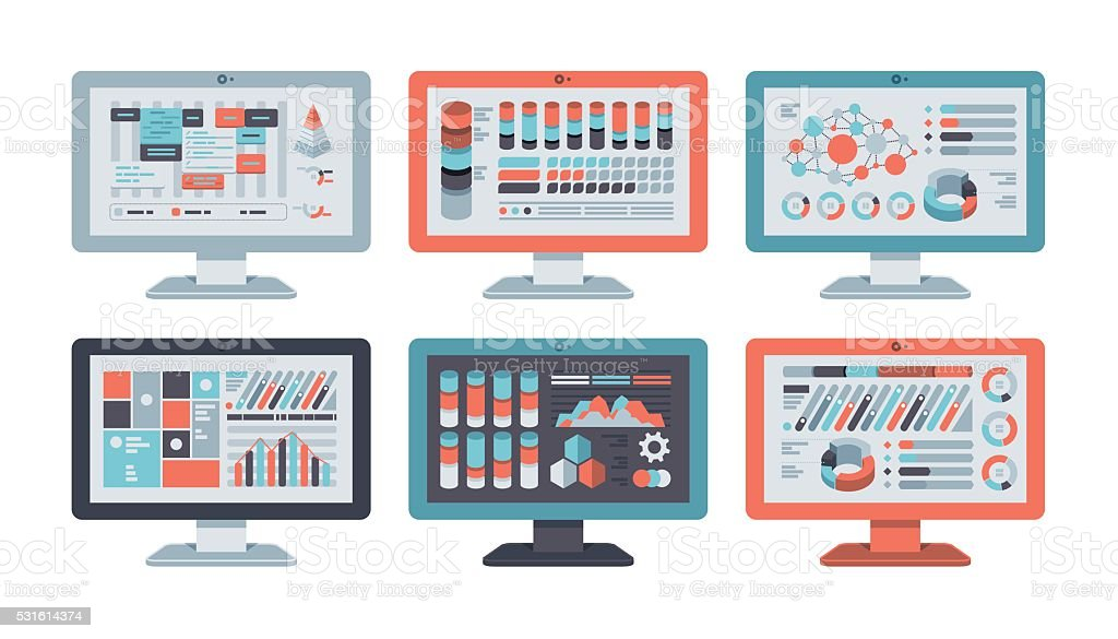 Computer Monitor Flat Design Set royalty-free stock vector art