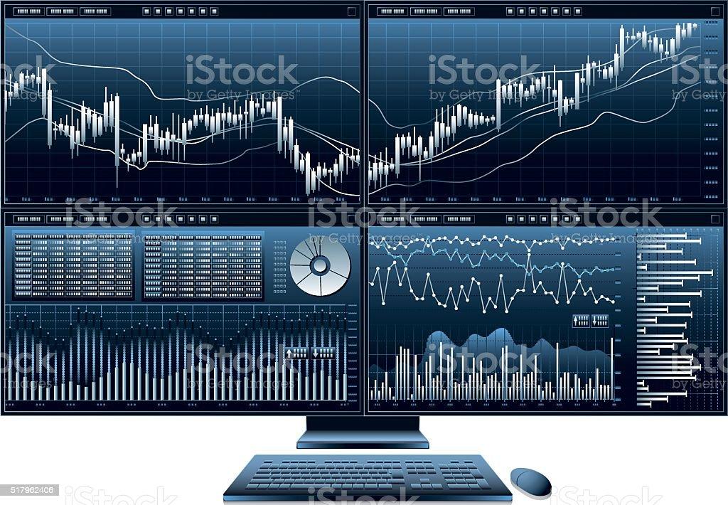 computer monitor graph vector art illustration