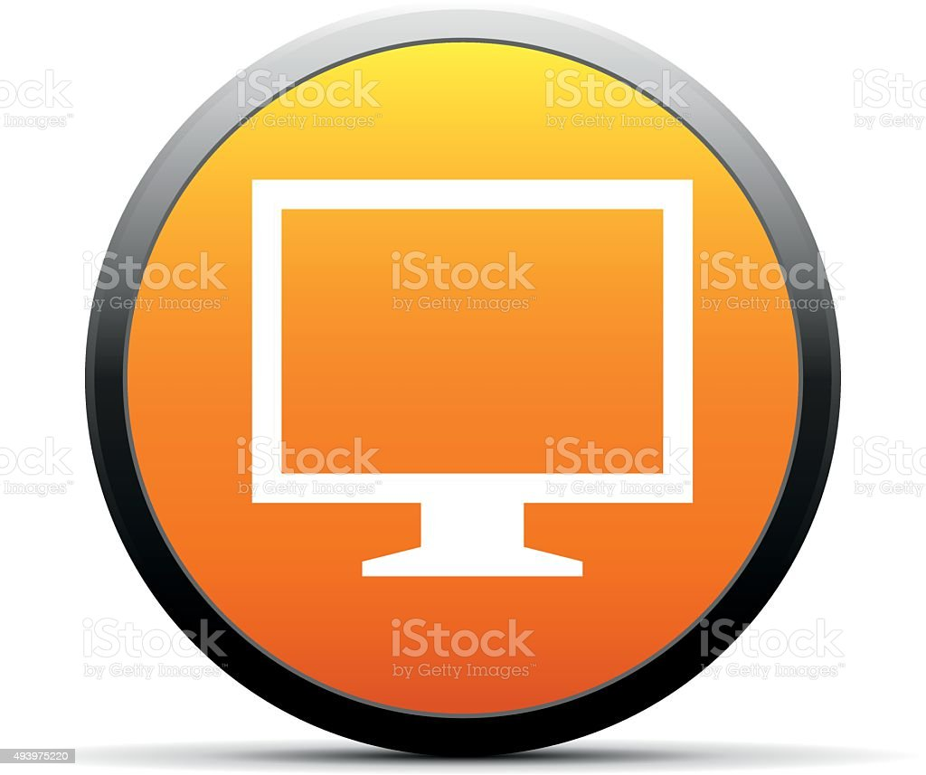 Computer Monitor icon on a round button. - SimpleSeries vector art illustration