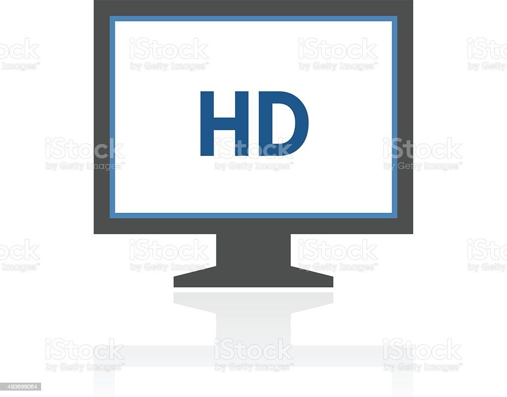 Computer Monitor icon on a white background. - RoyalSeries vector art illustration
