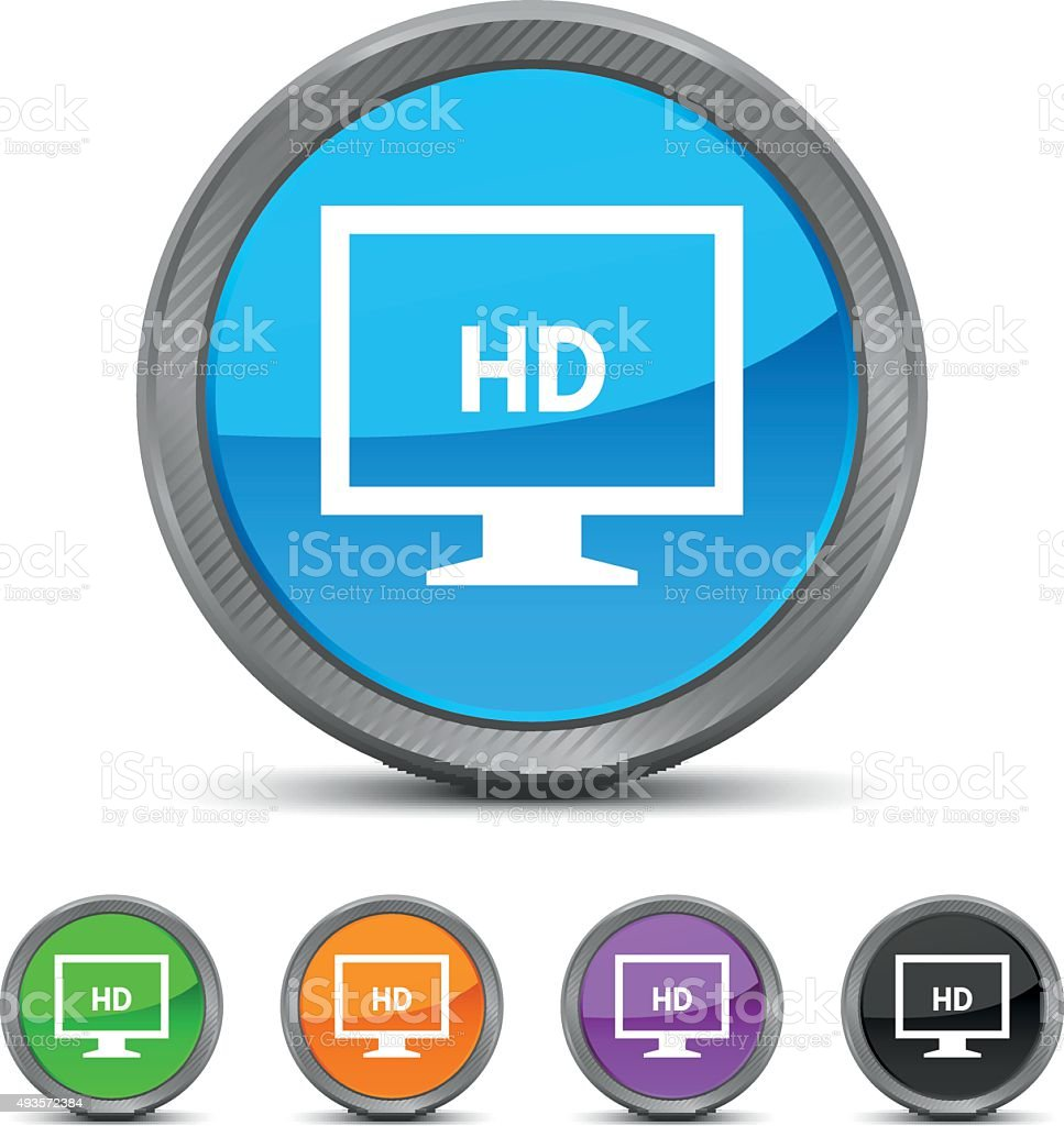 Computer Monitor icon on circle buttons. - CircledSeries vector art illustration