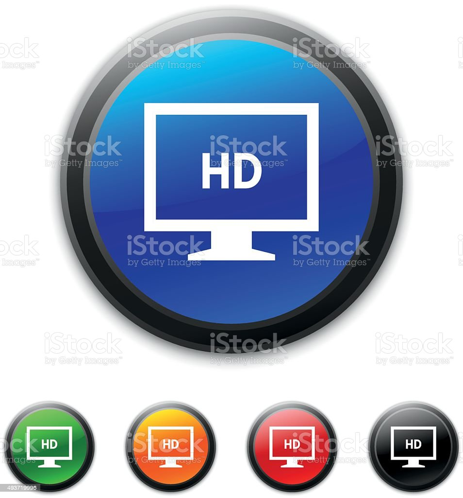 Computer Monitor icon on round buttons. - ShinedSeries vector art illustration