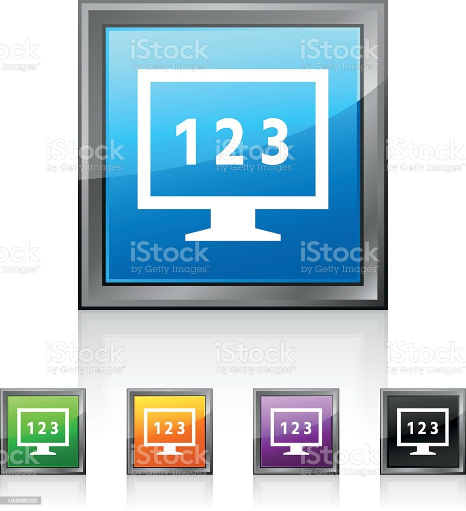 Computer Monitor icon on square buttons. - SquaredSeries vector art illustration