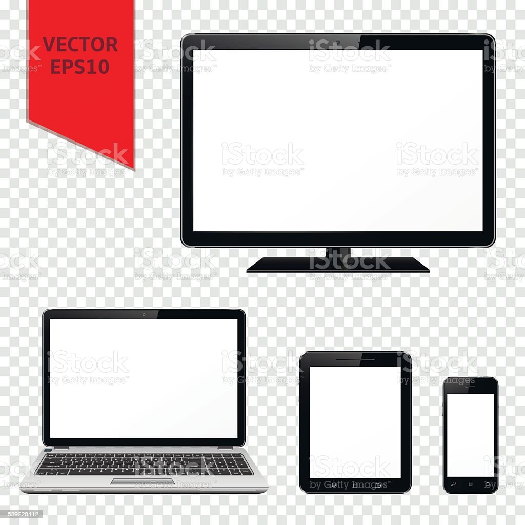Computer monitor, laptop, tablet pc and mobile phone isolated vector art illustration
