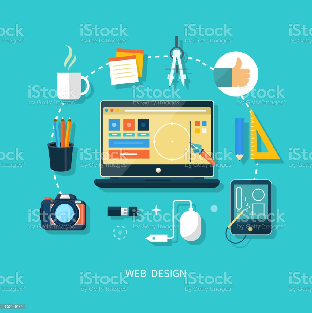 Computer monitor with program for design vector art illustration