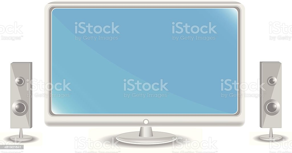 Computer Monitor With Speakers vector art illustration