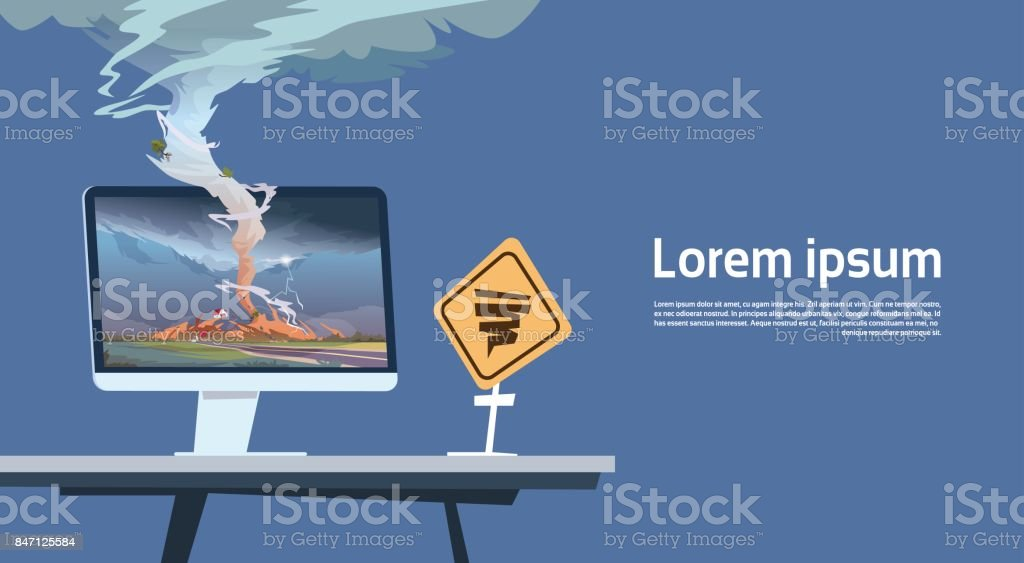 Computer Monitor With Tornado Imade And Hurricane Warning Road Sign Landscape Of Storm Waterspout In Countryside Natural Disaster Concept vector art illustration