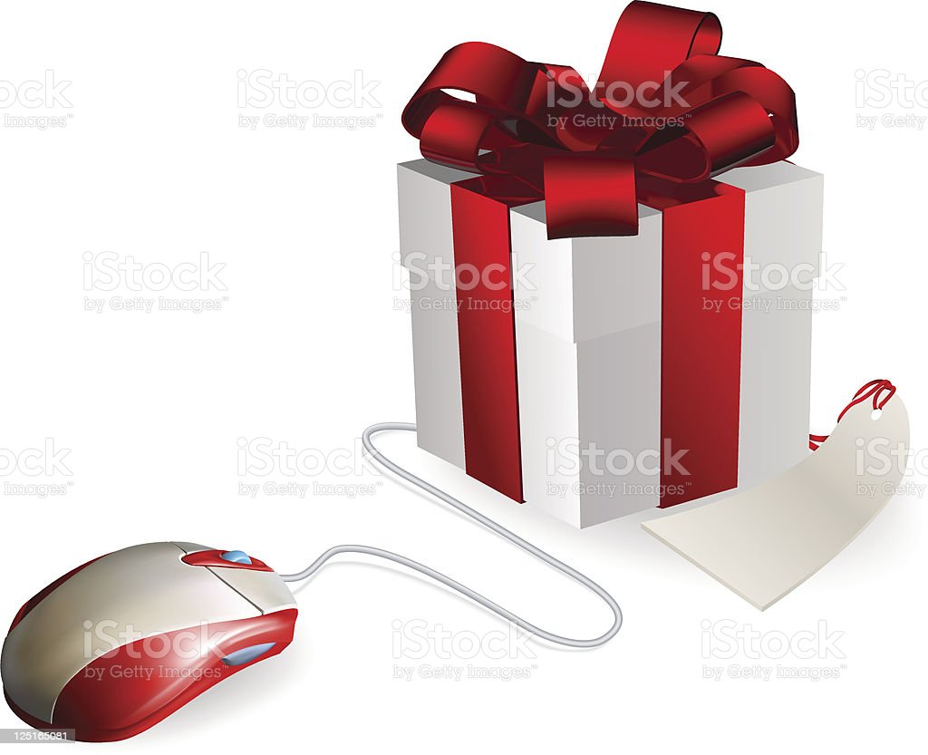 Computer Mouse Gift vector art illustration