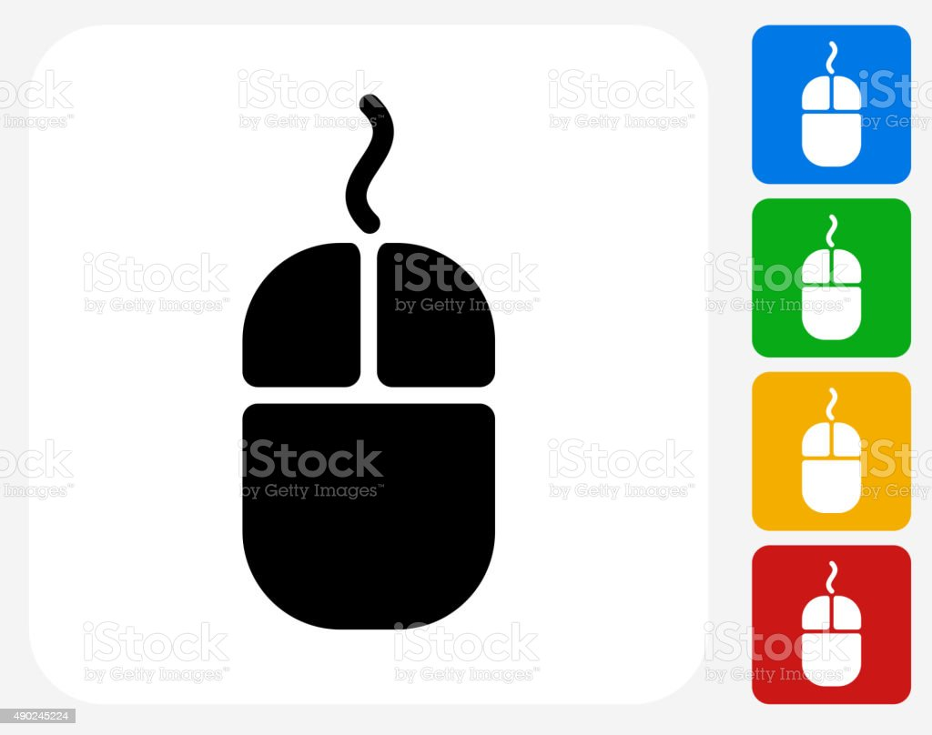 Computer Mouse Icon Flat Graphic Design vector art illustration