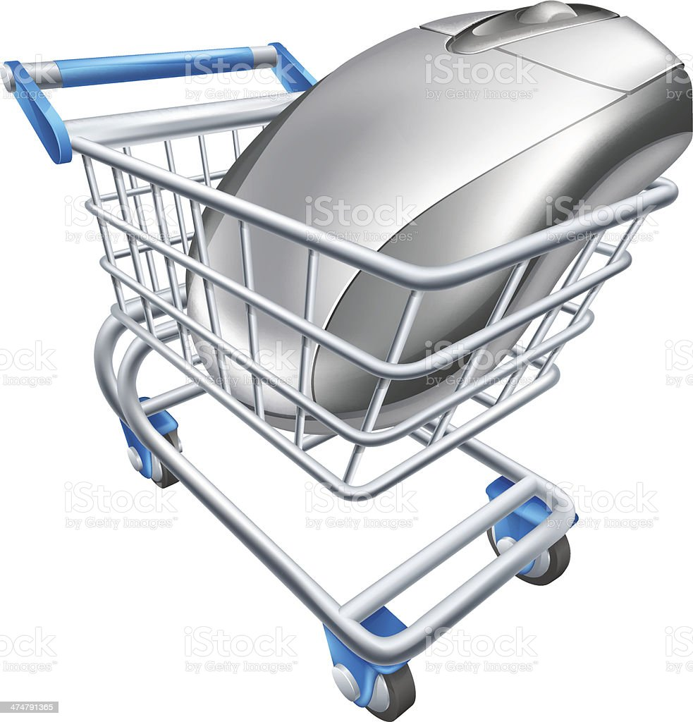 Computer mouse in trolley vector art illustration