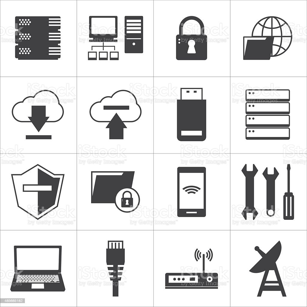computer network and database icon vector art illustration