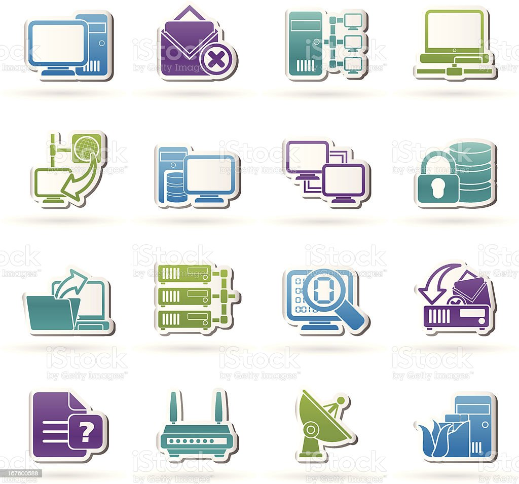 Computer Network and internet icons vector art illustration