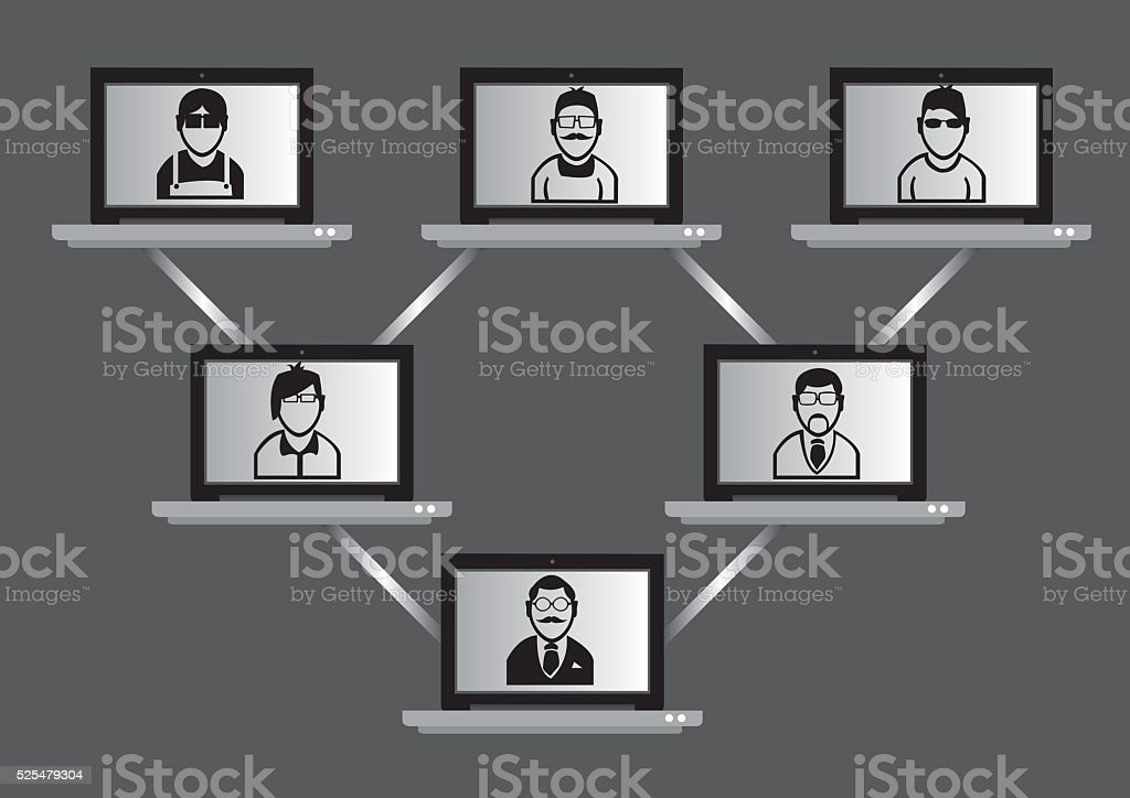 Computer Network and Virtual Meeting Technology Concept vector art illustration