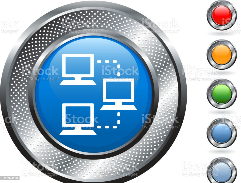 computer network royalty free vector art on metallic button royalty-free stock vector art
