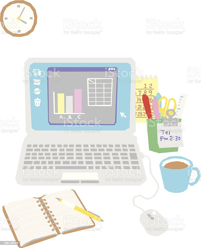 computer on the office desk royalty-free stock vector art