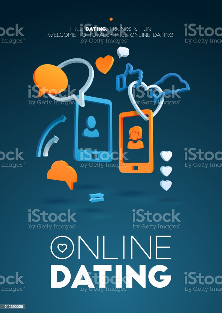 Computer online dating abstract frame composition. Concept the relationship between vector art illustration