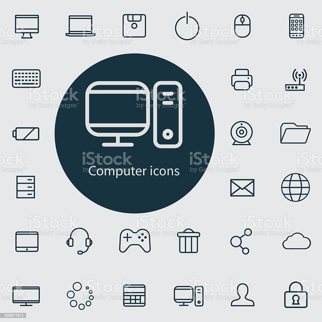 computer outline, thin, flat, digital icon set vector art illustration