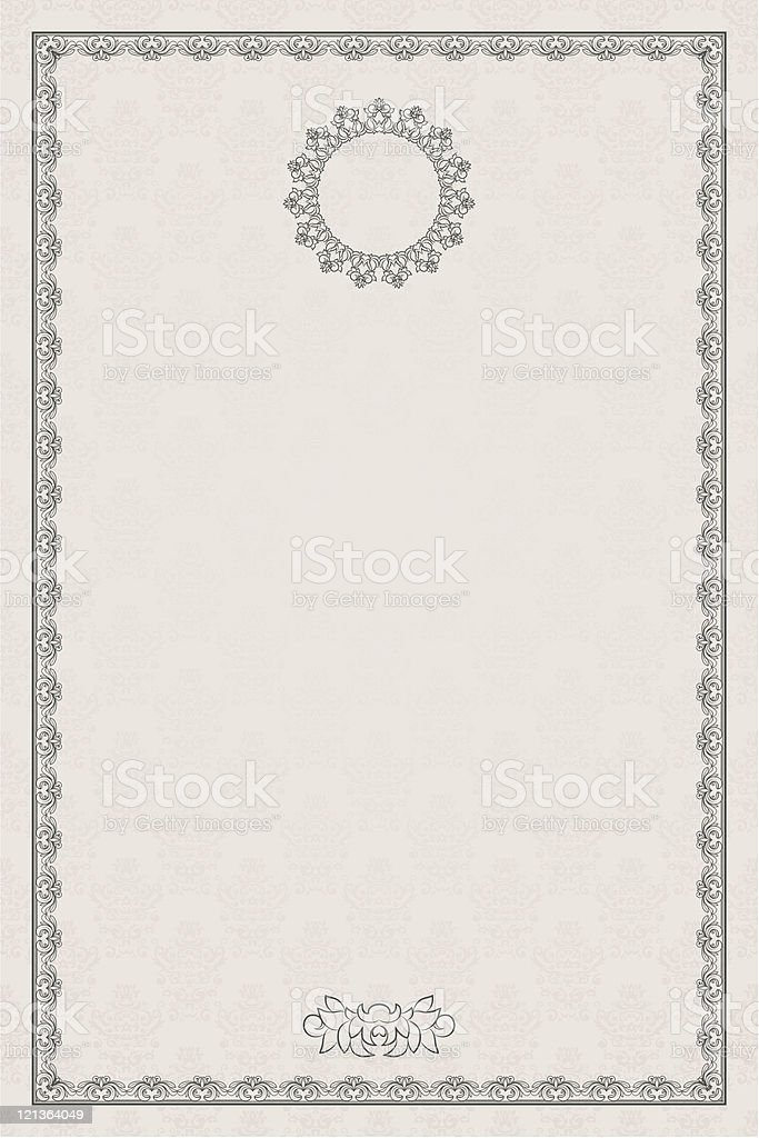 Computer paper with black vintage border  royalty-free stock vector art