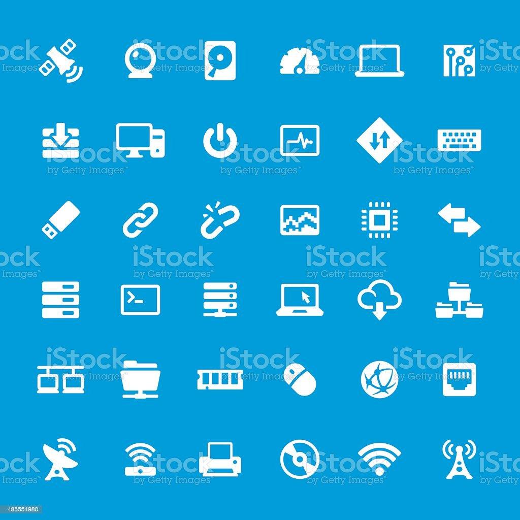 Computer parts vector icons set vector art illustration