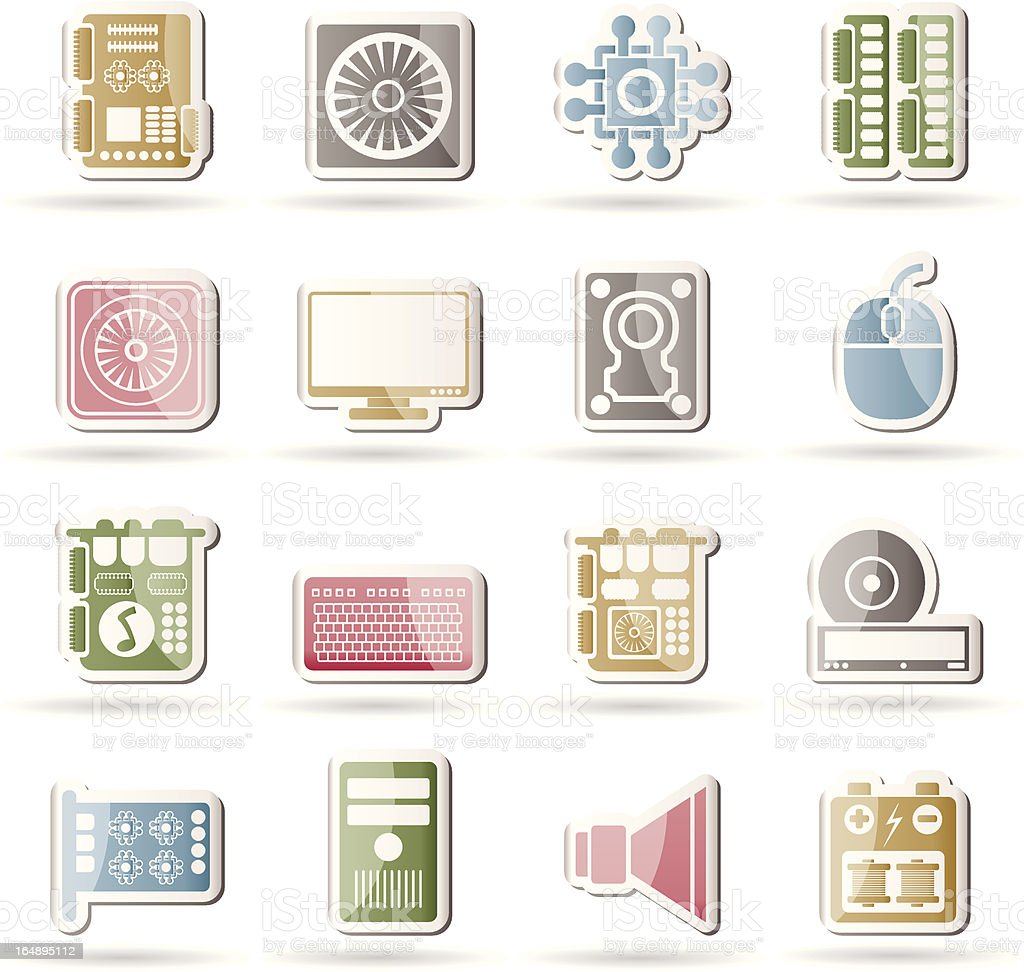 Computer performance and equipment icons royalty-free stock vector art