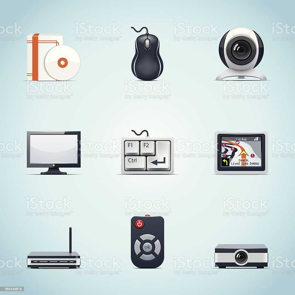 Computer peripherals icons royalty-free stock vector art