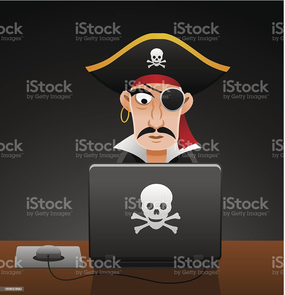 Computer Pirate royalty-free stock vector art