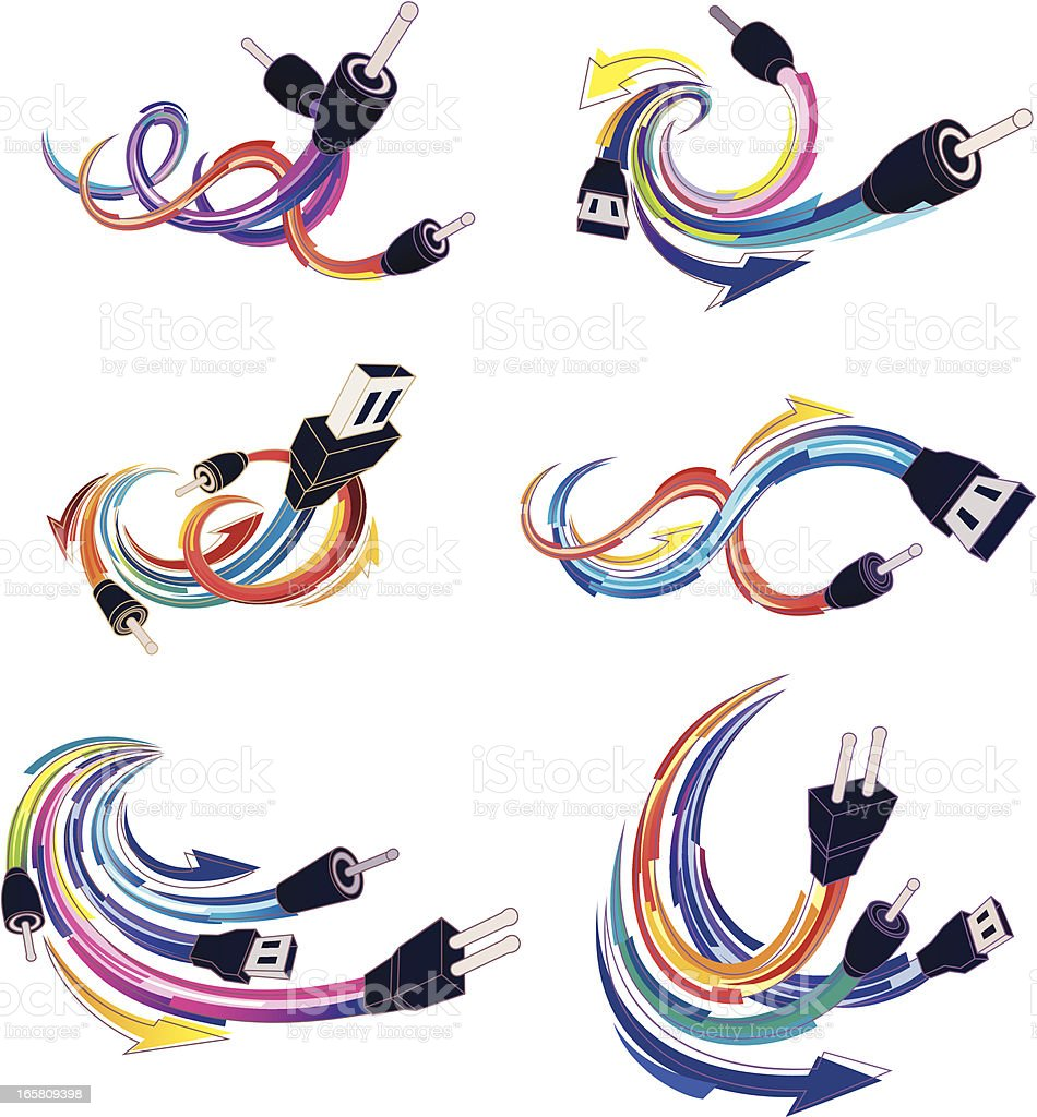 computer plugs royalty-free stock vector art