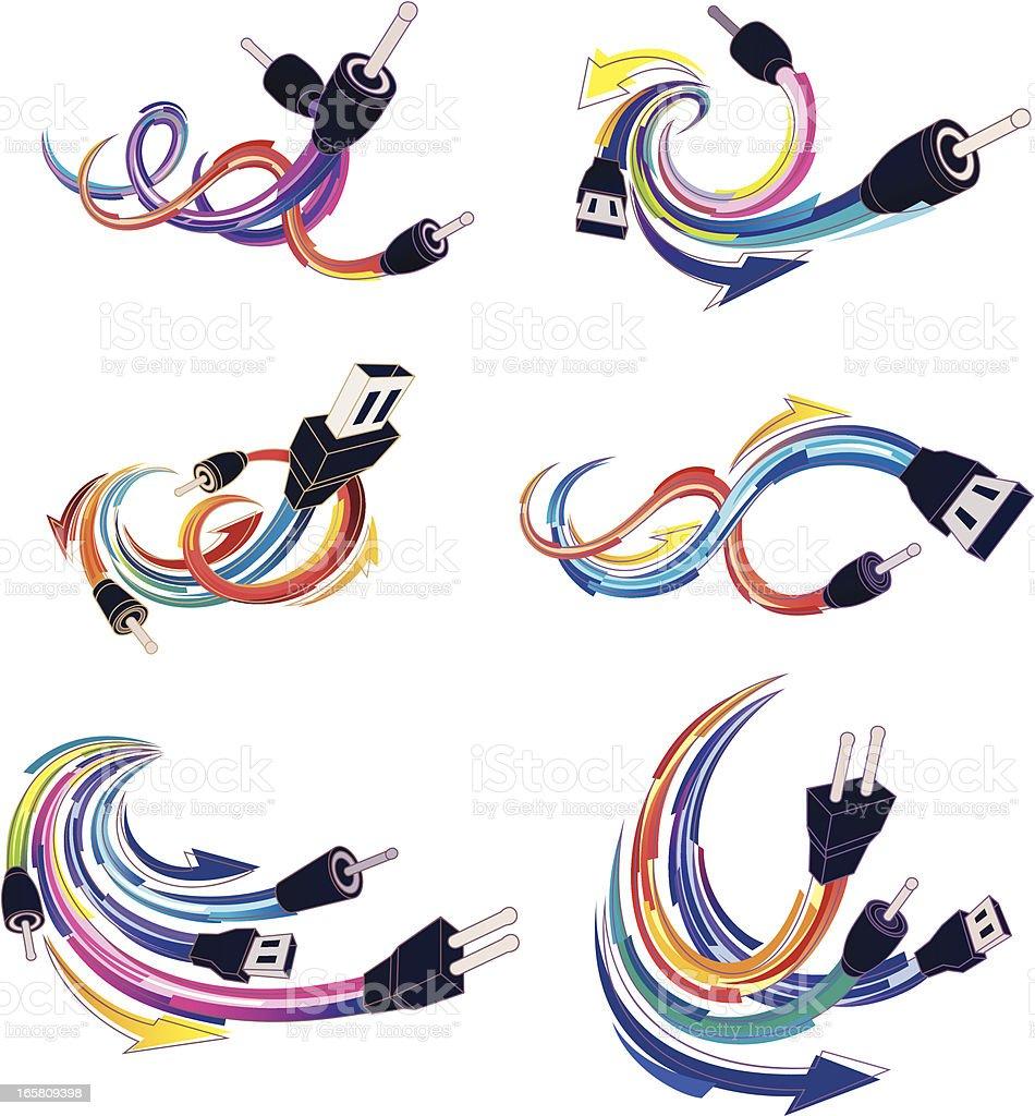 computer plugs vector art illustration
