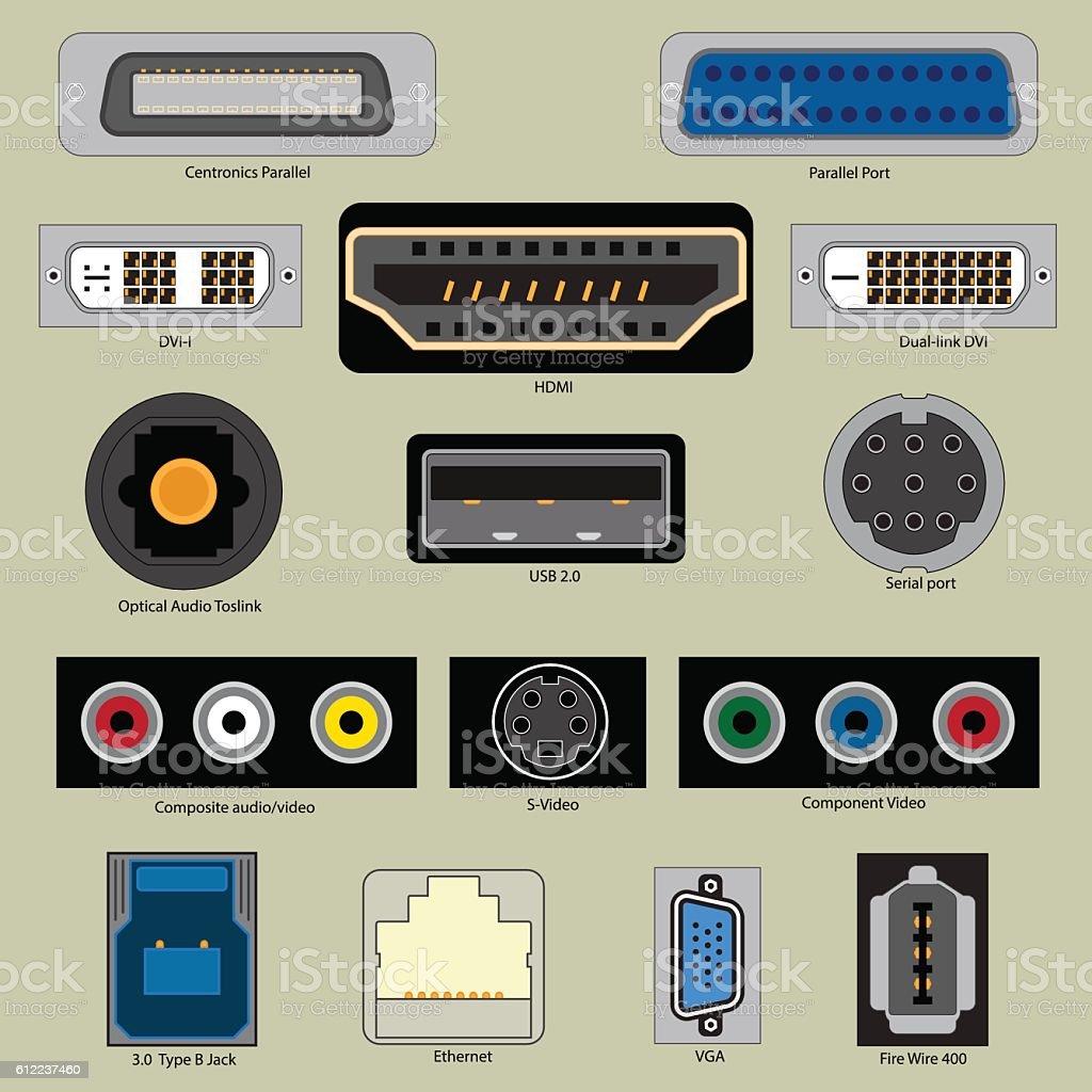 Computer Port vector art illustration