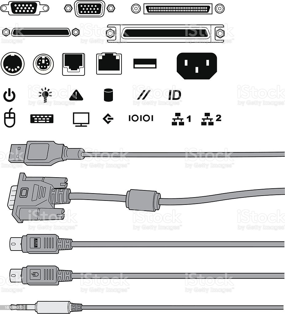 Computer ports and cables vector art illustration