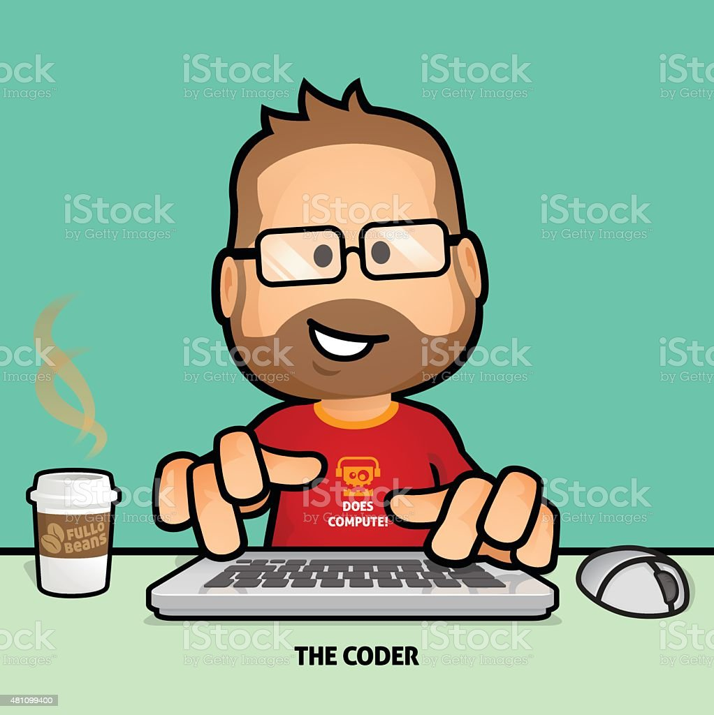 Computer Programmer vector art illustration