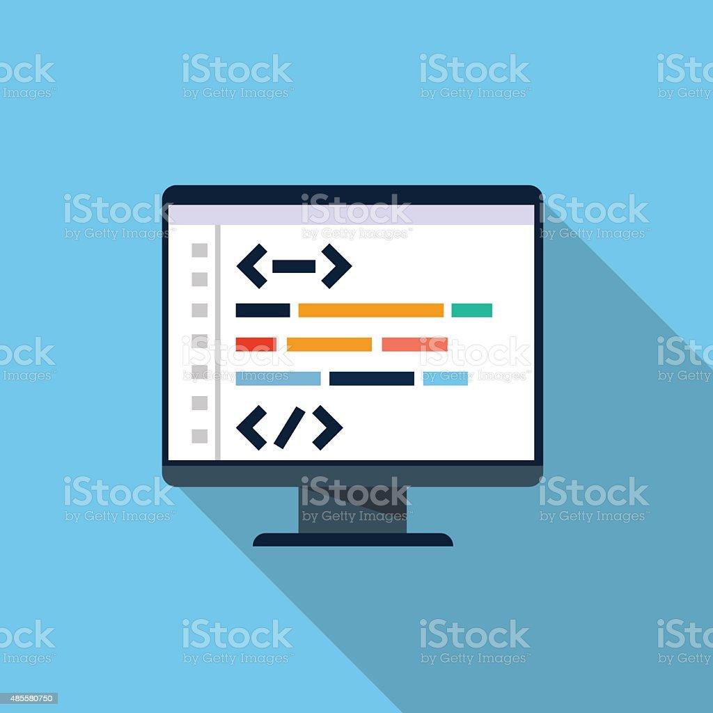 Computer programming vector art illustration