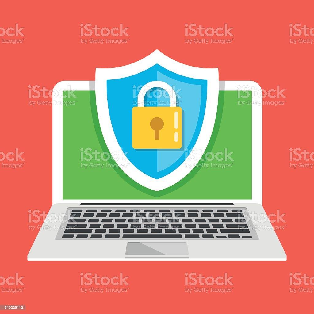 Computer protection. Modern vector illustration vector art illustration