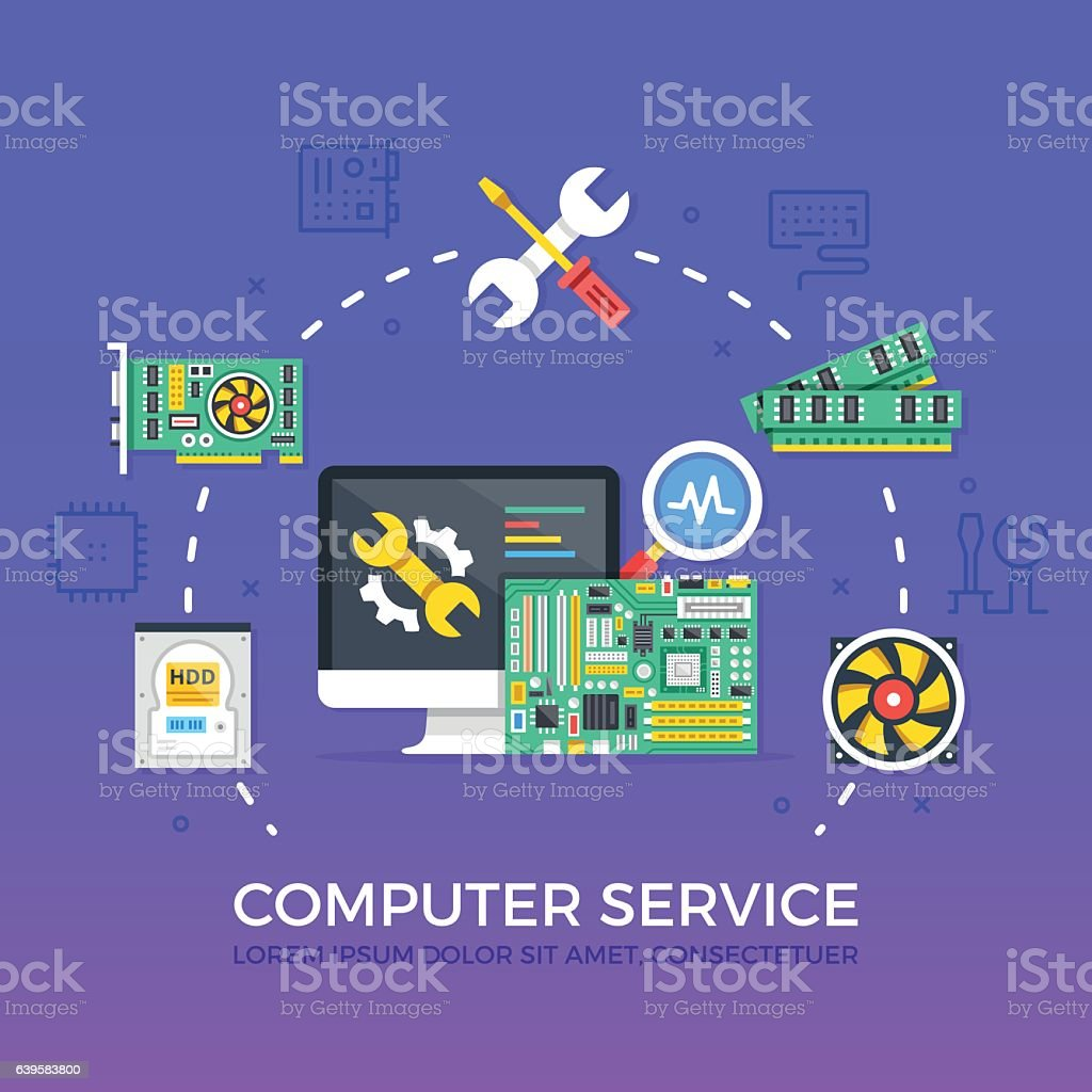 Computer repair, computer service concepts set. Flat design vector illustration vector art illustration